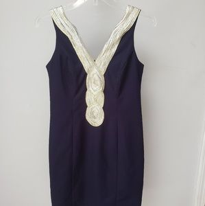 Just...Taylor navy gold silver dress 4 small Lilly